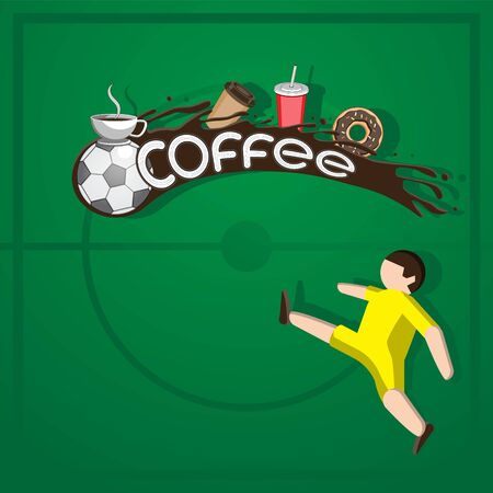 Background logo label coffee football. Ball soccer player football field coffee Cup packing donut on isolated background.