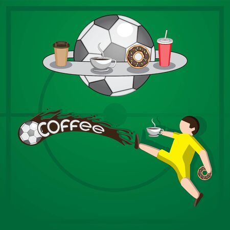 Background football player hits the ball liquid coffee letters Cup doughnut packaging on isolated background.