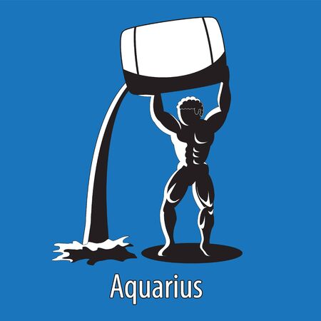 Astrological sign of Aquarius silhouette on isolated background.