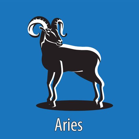 Zodiac sign Aries RAM on an isolated background. Design element emblem symbol.