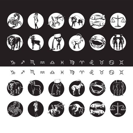 Zodiac for horoscope icon set. Usable for mystic occult palmistry and witchcraft alchemy.
