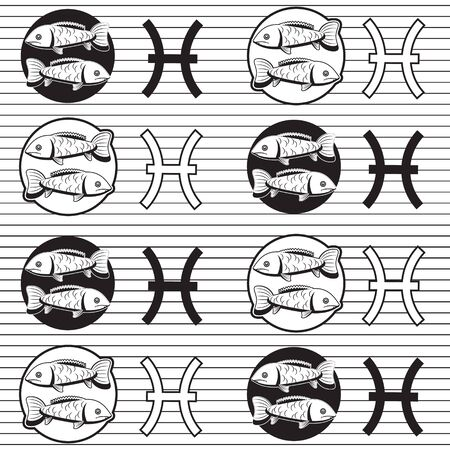 Pisces zodiac signs seamless pattern on a white striped background.
