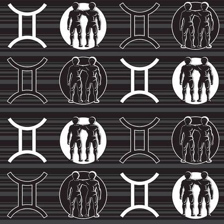 Seamless pattern of zodiac sign Gemini on a background of horizontal stripes. 向量圖像