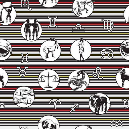 Zodiac signs, constellations seamless pattern. Ram, Bull, Twins, Crab, Lion, Virgin, Balance, Scorpio, Sagittarius Capricorn Aquarius Fish Horoscope symbols on a white striped background.