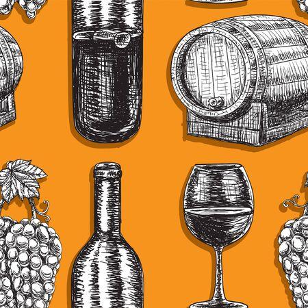 Seamless background wine barrel grapes bottle glass on orange background.