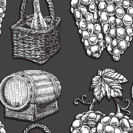 Seamless background wine barrel grapes bottle glass on dark background. The design of the packaging wrapper. Stock Illustratie