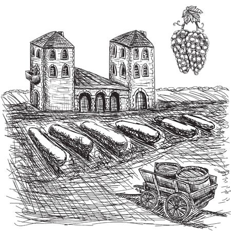 Agriculture the vineyards, the farm wagon barrel grapes. Illustration