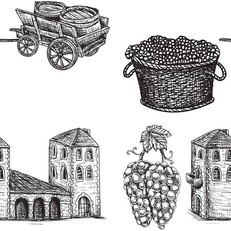 Seamless background agriculture viticulture building cart a barrel of grapes.