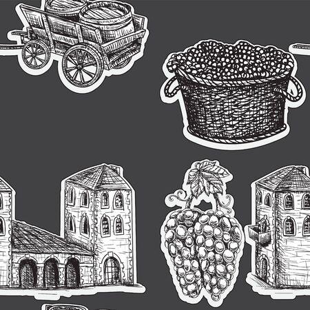 Seamless background agriculture viticulture building cart a barrel of grapes. Vektoros illusztráció