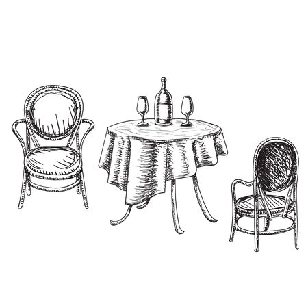 Dining table and chairs for two people. Bottle of wine and two glasses. Sketch. Furniture in summer cafe.