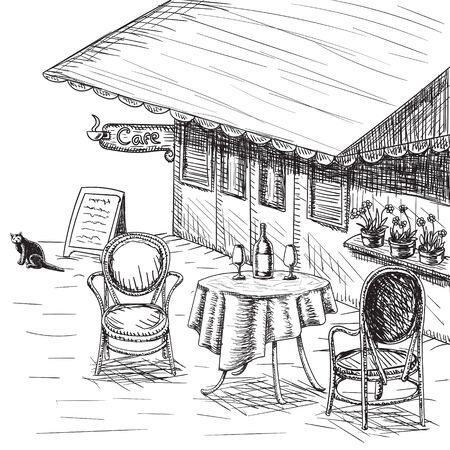 French Street Cafe, Hand drawn on white background. Illustration