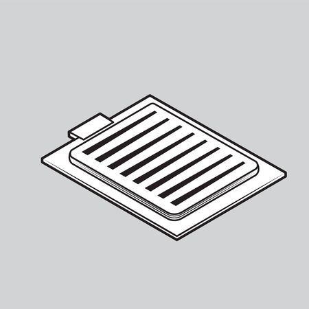 checklist icon on grey isolated background. Vector black and white Illustration