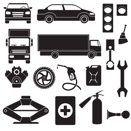 Vector illustration of simple monochromatic vehicle and car truck canister the Jack signal engine wrench fire extinguisher first aid kit piston wheel gasoline stoplight. Banque d'images - 129768315