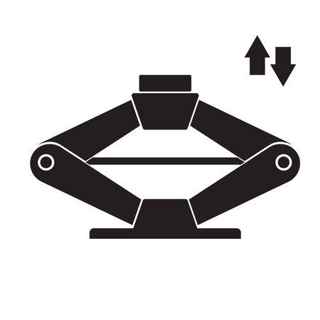 Autodiagnosesymbol mit Scherenheberelement. Symbol für Autoreparaturservice, Piktogramm des Automobilzentrums