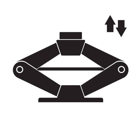 Car diagnostics icon with scissor jack element. Auto repair service symbol, automotive center pictogram
