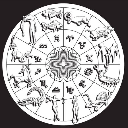 Horoscope and astrology circle zodiac with twelve signs vector.  イラスト・ベクター素材