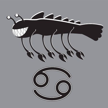 Zodiac sign cancer on gray isolated background. Stylized mythology. Vector image. eps 10 Ilustracja