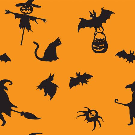 Halloween orange festive seamless pattern. Endless background with pumpkins, skulls, bats, spiders, ghosts, bones, candies, spider web and speech bubble with boo eps 10  イラスト・ベクター素材
