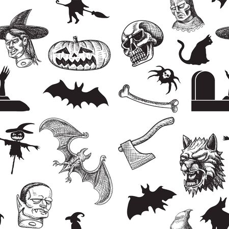Happy Halloween. Seamless pattern witch vampire spider witch executioner pumpkin executioner axe skull bat coffin stuffed Vector image. eps 10  イラスト・ベクター素材