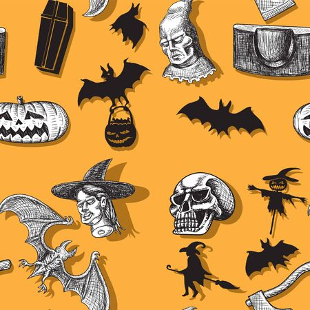 Happy Halloween. Seamless pattern witch pumpkin executioner axe scaffold skull bat coffin stuffed Vector image. eps 10  イラスト・ベクター素材