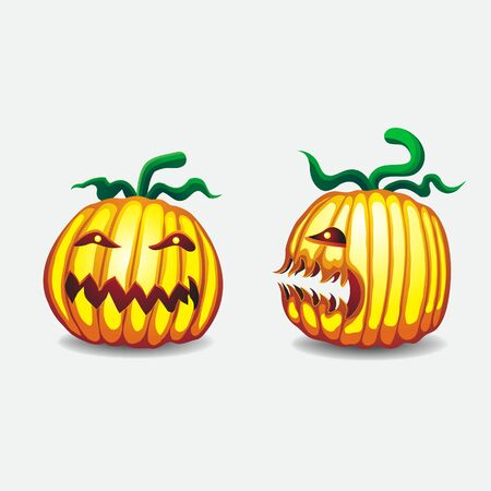 Pumpkins for Halloween full face profile on isolated background. Vector image. Design element esp 10