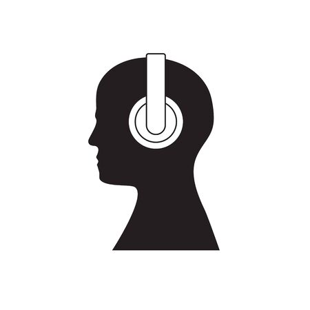 Human head with headphones isolated background.