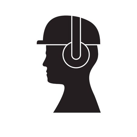 Silhouette of head in hard hat and headphones on isolated white background. Icon. Vector image. esp 10