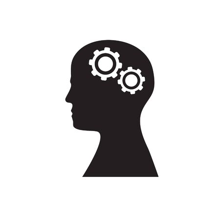 Silhouette of a head with two gears on a white isolated background. Vector image. esp 10