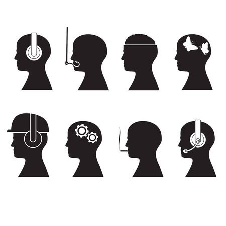 Set silhouettes of human head designation. Isolated background.  イラスト・ベクター素材