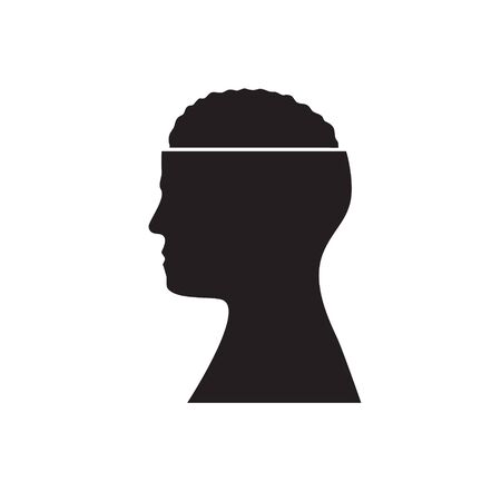 Black silhouette of man head with brain on isolated white background. Icon.  イラスト・ベクター素材