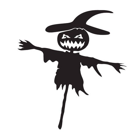 Pumpkin Scarecrow icon for Halloween on white isolated background. Vector image eps 10