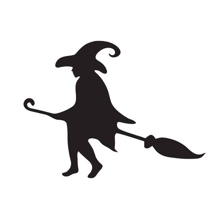 Happy Halloween. Silhouette of a witch flying on a broomstick on a white isolated background.
