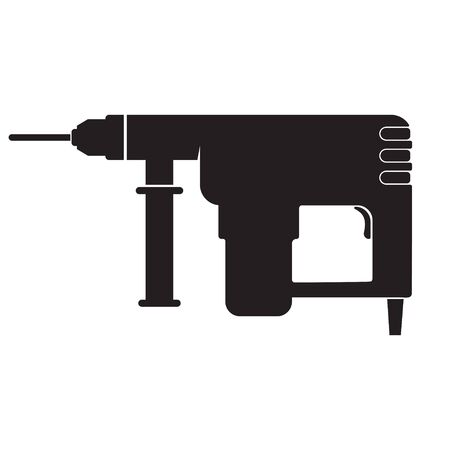 Electric hammer drill. Household electric instrument for boring wood and metal with screwdriver function.  イラスト・ベクター素材