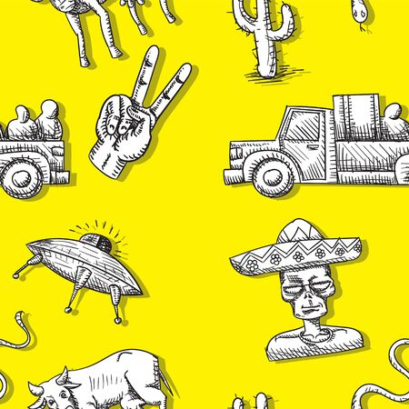 seamless background of flying saucer alien cow van cactus snake arm on a yellow background.