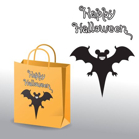 Happy Halloween. Bat icon smiling lettering letters and paper bag on white isolated background.  イラスト・ベクター素材