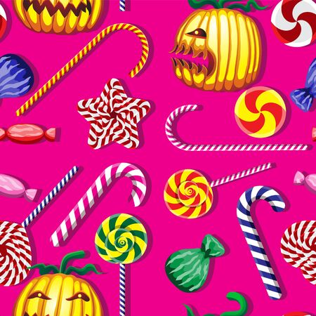 Halloween vector seamless pattern. Candy pumpkin character on pink background.