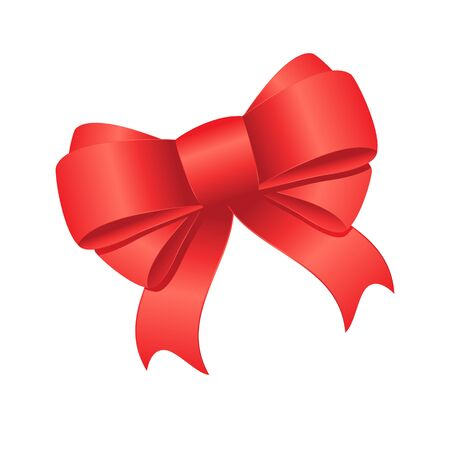 Holiday background with red bow on white isolated background. Vector image.  イラスト・ベクター素材