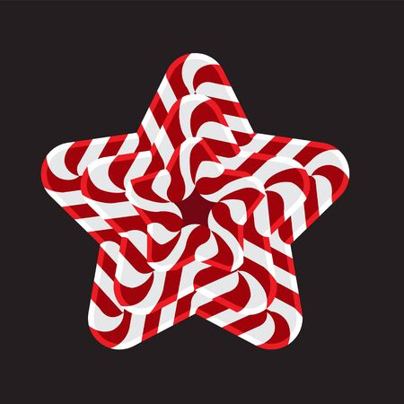 Object design element star festive striped on black isolated background.