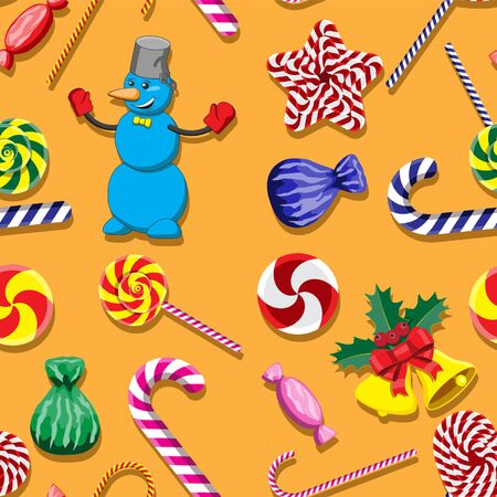 Seamless pattern with cute cartoon Christmas snowman, candy cane.  イラスト・ベクター素材