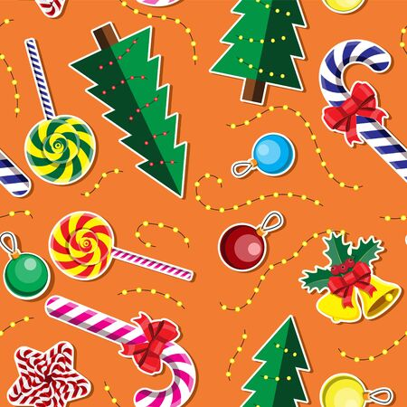 Seamless background Christmas tree garland candy bell star glass round toy on orange background.  イラスト・ベクター素材