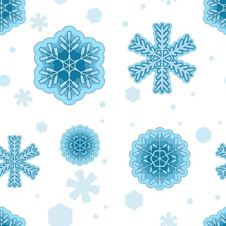seamless snowflake background on white isolated background.