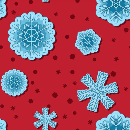 seamless snowflake background on red isolated background.