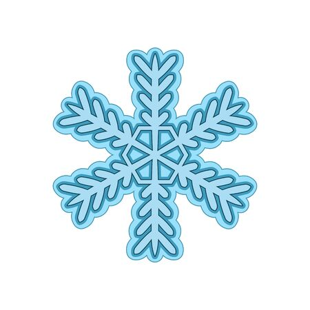 Snowflake design element on white isolated background.