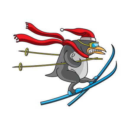 The character is an animal penguin skiing on a white isolated background. Drawn by ruaka. Vector image. esp 10 Illustration