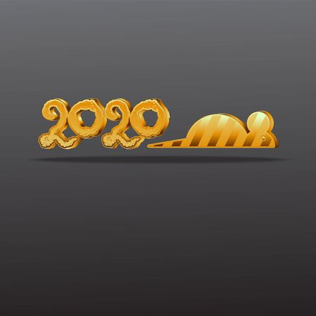 Banner Logo gold 2020 happy new year, Christmas.