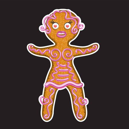 Christmas gingerbread woman on black isolated background. Sticker design element. Vector image eps 10