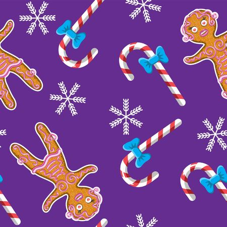 Seamless background with gingerbread man and candy snowflake on purple background.