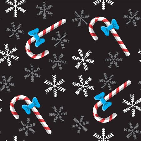 Seamless candy cane and snowflake background on black.  イラスト・ベクター素材