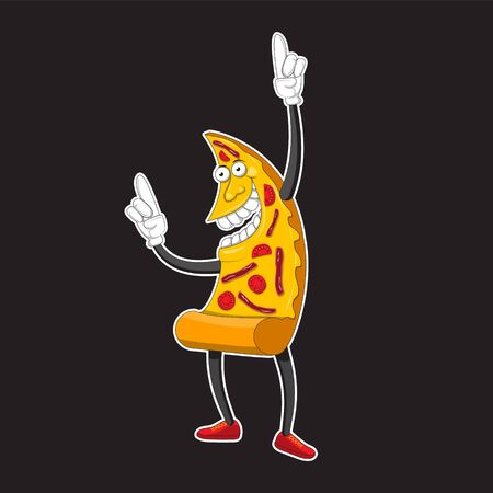 Pizza points finger up comic style with contour. Decoration for greeting cards, posters, prints for clothes, emblems.