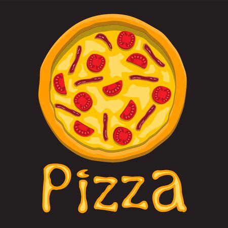 Pizza with tomato and bacon letters on black isolated background. Design element object. Vector image. eps 10